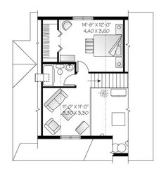 This cottage design floor plan is 1226 sq ft and has 3 bedrooms and has 2 bathrooms. Cottage Style House Plans, Cottage House Plans, Dream House Plans, Small House Plans, Cottage Homes, Drummond House Plans, Villa Plan, Bedroom Loft, Cottage Design
