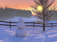 watching the sun set in winter with snowman.