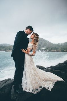 Rocky Beach Wedding Portrait