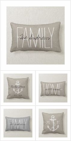 Rustic Throw Pillows and Lumbar Pillows. Choose material and indoor or outdoor. Personalize with family name or monogram.