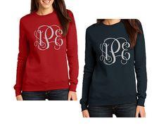 Monogrammed Sweatshirt  Monogram Tee  Ladies by ShelbysBoutiques
