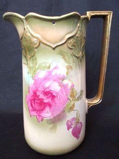 VINTAGE/ANTIQUE Art Nouveau Pink Rose Glazed Water Jug with Pewter Lid