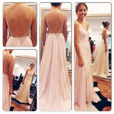 backless chiffon bridesmaid dress