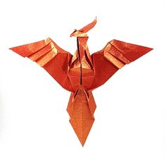 Origami Phoenix by John Montroll Folded from a square of Vietnamese wrapping paper by Gilad Aharoni on giladorigami.com