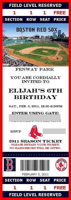 Obviously the Red Sox are not an acceptable idea, but this is cute for a b'day invitation - sports tickets, like maybe the Steelers or the Pens?