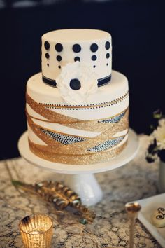 Brides: Gold and Silver Striped Wedding Cake. A two-tiered wedding cake with shimmering gold and silver stripes and a black polka dot top, from Naturally Delicious. Beautiful Wedding Cakes, Gorgeous Cakes, Pretty Cakes, Amazing Cakes, Cupcakes, Cupcake Cakes, Shoe Cakes, Black And Gold Cake, Black Gold