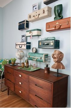Vintage Luggage as shelves... thank you, Out of the Birdcage!