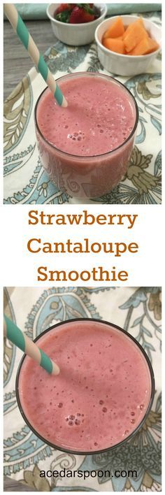 Strawberry Cantaloupe Smoothie is fruity, refreshing and makes a great afternoon pick me up. // A Cedar Spoon