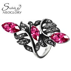 Stylish Antique Silver Plated Purple Auden Rhinestone Band Rings Vintage Style Jewelry Bijouterie For Women