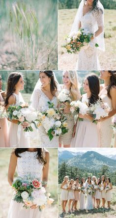 Location Scout – Rocky Mountain High | Hearts Aflutter by Flutter Magazine Bouquets, blush, white, summer. Bridal bouquet, bridesmaids. Neutral colors.