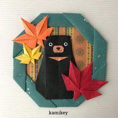 """「くま」の月の輪熊バージョンʕ•ᴥ•ʔ ✳︎ 作り方動画は、YouTubeチャンネル【創作折り紙 カミキィ】でご覧ください(プロフィールにリンクがあります) ✳︎ Bear Wreath designed by myself Tutorial on YouTube """"kamikey origami """" #origami #折り紙 #kamikey"""