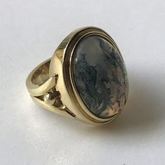 Gold Ring set with a Large Moss Agate Agate Ring, Moss Agate, Vintage Jewellery, Yellow Gold Rings, Gold Beads, Gemstone Rings, Rings For Men, Antiques, Jewelry