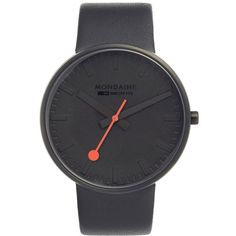 Mondaine 'Evo' Leather Strap Watch, 42Mm (€310) ❤ liked on Polyvore featuring jewelry, watches, black, stainless steel watches, dial watches, stainless steel jewelry, mondaine and mondaine watches