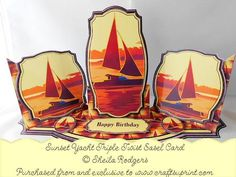 Triple Twist Easel Card Sunset Yacht on Craftsuprint - Add To Basket!