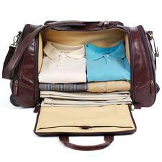 One option for a good weekender bag. The Side Opening Bison Leather Weekender - Hammacher Schlemmer