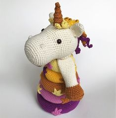 ** This is a crochet pattern, NOT the finished toy!**  The pattern is written in English (US terms)  Measurements: approx. 24 cm / 9.4 high, made with hook size 2.5  Skill level: medium Crochet Bebe, Double Crochet, Single Crochet, Crochet Patterns Amigurumi, Crochet Toys, Hobby Lobby Wall Art, Stacking Toys, Unicorn Pattern, Hobby Photography