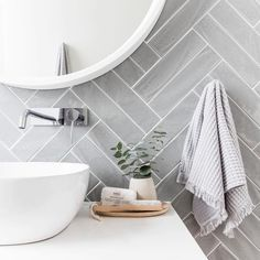 Grey herringbone tile bathroom wall - April 13 2019 at Herringbone Tile, Bathroom Interior, Laundry In Bathroom, Classic Bathroom, Bathroom Design Trends, Classic Bathroom Design, Herringbone Tile Bathroom, Tile Bathroom, Bathroom Wall Tile