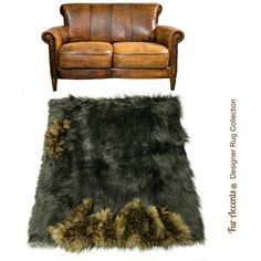 Pieced Fur Area Rug Wolf Trim Border End Detail Pelt Rug Premium Faux... ($120) ❤ liked on Polyvore featuring home, rugs, black, floor & rugs and home & living