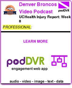 #PROFESSIONAL #PODCAST  Denver Broncos Video Podcast    UCHealth Injury Report: Week 8    READ:  https://podDVR.COM/?c=23ace10a-be45-e87e-42cf-a1e39a3224cd