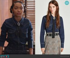 Zoey's denim top with ribbon brooch on Grown-ish.  Outfit Details: https://wornontv.net/93854/ #Grown-ish