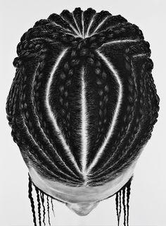 Photorealistic paintings of hair braids by So Yoon Lym.
