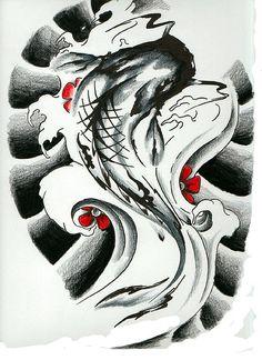 Koi Tattoo Flash by Captain Ironhead, via Flickr