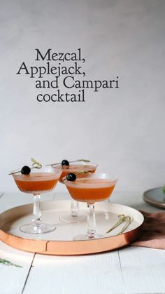 The Coyoacán - A Mezcal Cocktail with Notes of Apple Campari Cocktails, Famous Cocktails, Classic Cocktails, Fun Cocktails, Brandy Cocktails, Winter Cocktails, Fall Drinks, Mixed Drinks, Best Cocktail Recipes