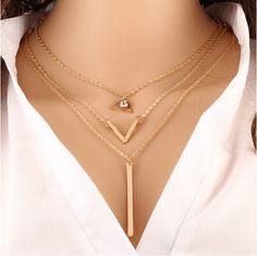Timlee n040 envío gratis bohemia de múltiples capas cadenas triángulo gargantillas collares al por mayor