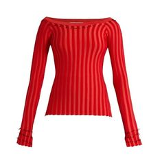Altuzarra Tatum ribbed-jersey top (12.155.750 VND) ❤ liked on Polyvore featuring tops, red multi, bateau neckline tops, ribbed off the shoulder top, boatneck top, ribbed top and embellished top