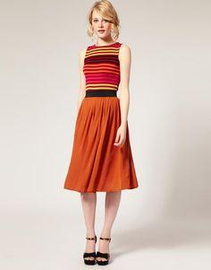 ASOS   ASOS Plain Chiffon Full Midi Skirt at ASOS
