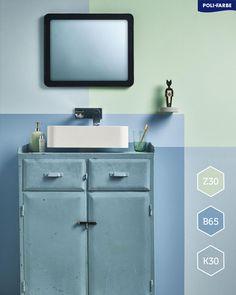 Áno, aj staršia kúpelňa môže vyzerať moderne a to pomerne jednoduchým spôsobom. 😉 Stačí použiť správnu kombináciu farieb, vzorov a doplnkov. 💙 👉Tip: Použite farby Poli-Farbe Platinum Matt Latex: Z30, K30 a B65.  #malovanie #malovaniestien #maliar #diy #kupelna #stena #steny #farba #farby #farebneinspiracie #byvanie #peknebyvanie #krasnebyvanie #domov #byt #dom #renovacia #rekonstrukcia #modern #oldschool #painting #wallpainting #bathroom #style #home Double Vanity, Latex, Bathroom, Washroom, Full Bath, Bath, Bathrooms, Double Sink Vanity