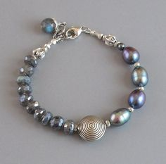 Mystic Labradorite Pearl Bracelet Sterling Silver by DJStrang                                                                                                                                                                                 More                                                                                                                                                                                 More