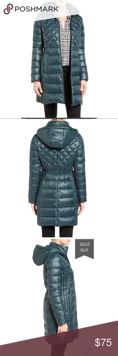 """Nordstrom Halogen Walker Down Puffer Coat Brand New without tags. Only worn twice.             Varied quilted sizes and shapes flatter a feminine silhouette in this cozy, down-filled coat with a comfy hood and longer hem to provide additional protection from the elements. 36"""" regular length (size Medium); 33"""" petite length (size Medium P) Front zip closure Adjustable cinch-cord hood Elastic waist Front snap-button pockets Lined, with 90% down, 10% feather insulation 100% nylon Machine wash…"""