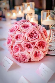 stunning mono bouquet with baby pink roses 'Pink O'Hara'