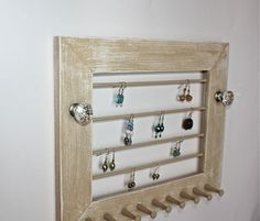 Necklace Earring Jewelry Display Wood Frame by onthewallusa
