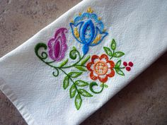 Jacobean Floral Hand-Embroidered Towel by Melys Hand-Embroidery, via Flickr
