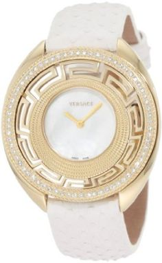 Versace Women's Destiny Mother-Of-Pearl Gold Plated Case Diamond Bezel Crownless Watch
