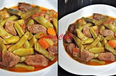 Fresh Bean with Meat Turkish Recipes, Ethnic Recipes, Colored Hair Tips, Turkish Delight, Pot Roast, Green Beans, Kung Pao Chicken, Sausage, Good Food
