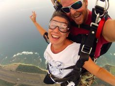 Skydiving over North Shore in Hawaii. Smiling but shaking inside. #skydiving #hawaii #adventure #northshore #aohu