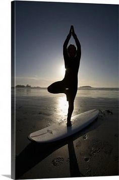 Silhouette Of Female Surfer Doing Yoga Tree Pose Chesterman Beach Tofino Vancouver Island British Columbia Canada Canvas Art - Deddeda Design Pics