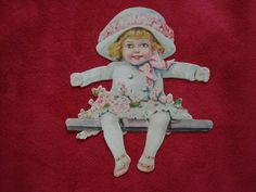 Victorian Paper Cut Out Little Girl with Flowers and Fancy Hat 159 | eBay