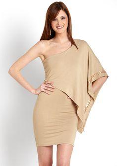 LA CITE One-Shoulder Sequined Trim Dress