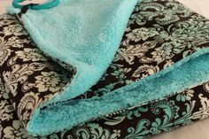 Baby Blanket Black/White/Agua Damask and Aqua Blue Cuddle Fabric 29 x 32 inches