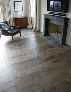 Our custom Aged French Oak floors in manoir gray are extremely popular with interior designers. The unique aging process renders stunning results with the look and patina of genuine antique French oak floors