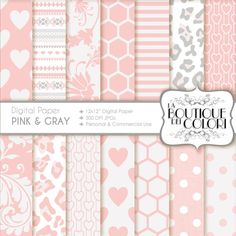 70 OFF Pink and gray digital paper. Pink by LaBoutiqueDeiColori