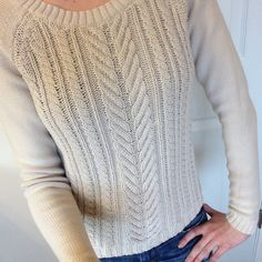 """J. Crew Cotton Cable Sweater APPROX. MEASUREMENTS:  16.5"""" (chest); 18"""" (front length); 16"""" (bottom width) CONDITION: Gently used. Worn less than five times.  ADDITIONAL INFO: From the spring 2012 collection. 100% cotton J. Crew Sweaters Crew & Scoop Necks"""