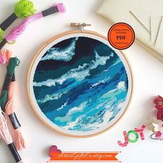 Items similar to Nature cross stitch Ocean Wave Seascape Cross stitch pattern PDF, Blue Landscape Ocean Embroidery Stitching on Etsy Learn Embroidery, Hand Embroidery Stitches, Crewel Embroidery, Embroidery Techniques, Cross Stitch Embroidery, Embroidery Patterns, Modern Cross Stitch Patterns, Counted Cross Stitch Patterns, Stitch Design