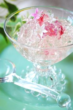 white wine jello + edible flower