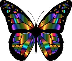 Iridescent Monarch Butterfly by @GDJ, A colorful iridescent variation of the original., on @openclipart