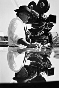 Federico Fellini on the set of 8 ½, Rome, 1962 -by Michelangelo Durazzo